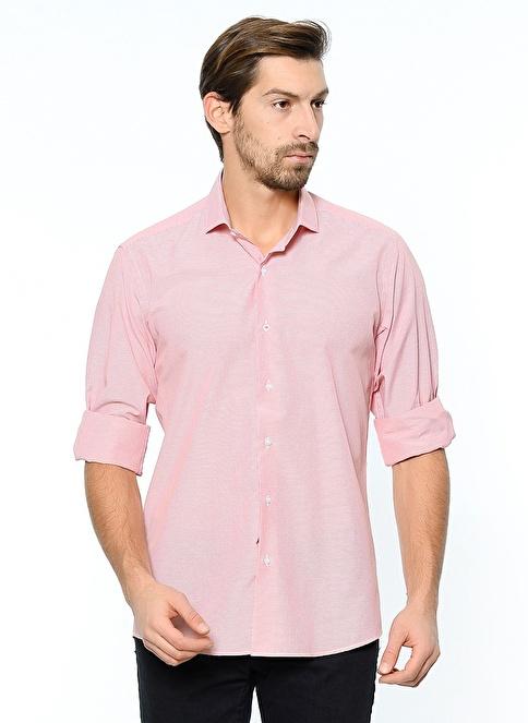 Dewberry Uzun Kollu Slim Fit Gömlek Kırmızı